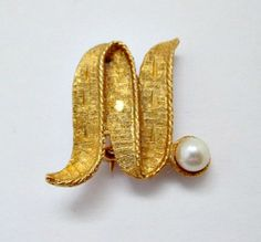 Vintage Initial Brooch Pin - Letter N with Cultered Pearl  - 5.00 Vintage Jewelry Gift by vintagejunque on Etsy