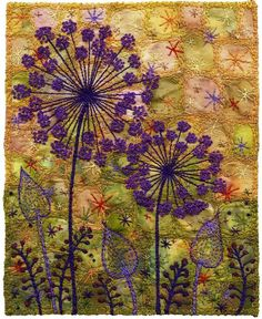Alliums by Kirsten Chursinoff. Machine stitched with hand-embroidered French knots; Embroidery Art, Embroidery Applique, Cross Stitch Embroidery, Embroidery Patterns, Machine Embroidery, Embroidery Bracelets, Embroidery Needles, Flower Embroidery, Quilt Patterns