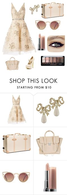 """A trip to Paris"" by abbimurf ❤ liked on Polyvore featuring Oscar de la Renta, Ciner, Globe-Trotter, 3.1 Phillip Lim, Quay, Maybelline, women's clothing, women, female and woman"