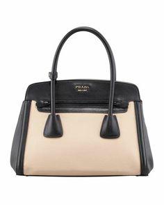 Canvas & Saffiano Cuir Small Tote Bag, Natural/Black by Prada at Bergdorf Goodman.
