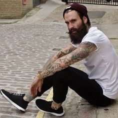 Ricki Hall - full thick dark beard and mustache beards bearded man men bearding mens street style fashion clothing tattoos tattooed
