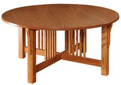 Amish Outlet Store : Prairie Mission Round Coffee Table in Oak