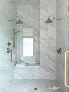 Would you like to tour my modern french country master bathroom? It's trimmed with gorgeous marble, mixed metal finishes, and a wood lattice floor inlay. Bathroom Windows, Wood Bathroom, Bathroom Flooring, Bathroom Fixtures, Bathroom Inspo, Bathroom Ideas, Bathroom Cabinets, Walk In Shower Enclosures, Sliding Door Design