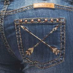Arrow embroidery designs are the feature here! These women's Natural Pathmaker jeans by Cowgirl Tuff have unique arrow embroidery down the leg seams with stud accents, whiskering and distressing detai Cowgirl Style, Western Style, Cowgirl Tuff Jeans, Country Girl Style, Western Wear, Country Girls, My Style, Gypsy Cowgirl, Cowgirl Fashion