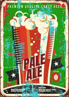 """Beer Styles Pale Ale #Displate artwork by artist """"Mr. Jackpots"""". Part of a set featuring various craft beer styles. £35 / $50 (Medium), £71 / $100 (Large), £118 / $166 (XL) #Ale #Beer #Hefeweizen #IPA #Lager #Porter #Stout #Alcohol #Alcoholic #Beverage #Pub #Bar #CraftBeer #Brewer #Brewery"""
