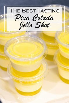 The Best Tasting Pina Colada Jello Shot | Looking for a jello shot that looks good and tastes great? Check out this striped Pina Colada jello shot...it really tastes like a Pina Colada!
