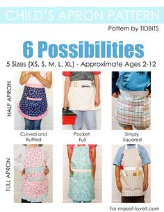 Child's Apron PDF Pattern.  Includes 5 sizes and 6 styles to choose from!