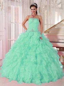 Discount Aqua Blue Ball Gown Strapless Ruching Organza Beading Pretty Quinceanera Dresses