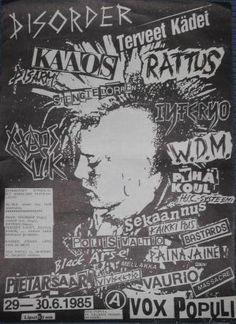 Disorder, Kaaos, Terveet Kadet, Rattus, Chaos U.K. flyer