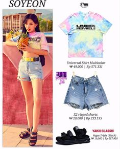 Ripped Shorts, Denim Shorts, Triple Black, Soyeon, Crop Tops, My Style, Shirts, Kpop, Outfits