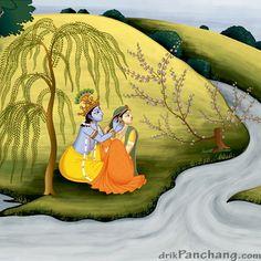 Krishna decorating Radharani Ear - miniature image depicting Krishna helping his lover Radha with earring