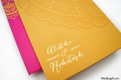 Mustard and Pink Handmade Wedding Invitations with Foil Printing