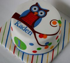 Sunday Showcase, Look Whooose Owl First Birthday Cake {Omaha Cakes} Owl First Birthday, Owl Cake Birthday, Owl Cupcakes, Cupcake Cakes, Cupcake Ideas, Cookie Ideas, Football Cakes For Boys, Owl Themed Parties, Torte Cake
