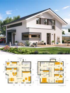 Modernes Satteldach Haus mit Galerie - Einfamilienhaus bauen Grundriss Ideen Fertighaus Sunshine 154 V5 Living Haus - HausbauDirekt.de