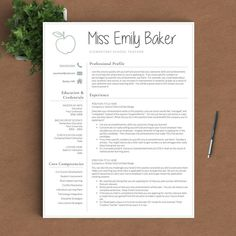 Resume Templates For Pages Free Editable Teacher Resume Template  Tpt Free Lessons