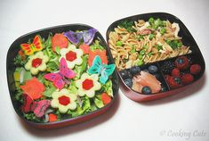 Left: mixed baby greens salad with carrot-tulips, cucumber and red bell pepper flowers, mini-carrot flowers, sprinkling of yellow bell pepper and red onion, and butterflies made from mozzarella cheese  Right: whole wheat fusilli with prosciutto and peas, pomelo pieces mixed with blueberries, raspberries and blackberries