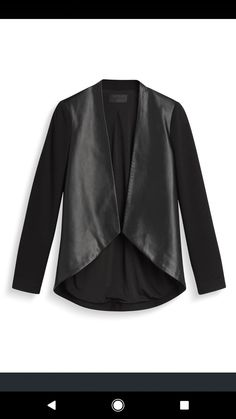 Jessica- I need this in my closet!! I love the faux leather against the soft sleeves and the high-low hemline. This is such a cool, edgy, gorgeous piece. I could wear this to the office, as well as for date night. I need this!!