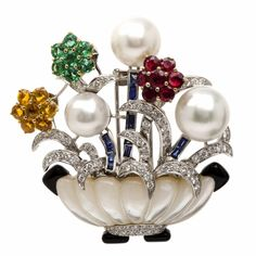 Estate 9.85 carats Multi-Gem Flower Basket Lapel Brooch 49.4 Grams | Dover Jewelry