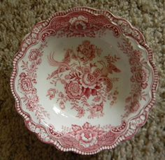Red or Pink Toile Transferware Bristol Candy Dish or Berry Bowl Birds Flowers Roses