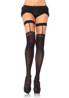 d4c24c27e Leg Avenue - Opaque lace top suspender thigh highs - One Size - Black -  (dildo)