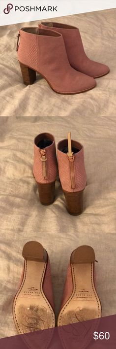 Ted Baker boots Practically new, worn once. Beautiful pale pink boots, rose gold zipper up the back. Ted Baker London Shoes Ankle Boots & Booties