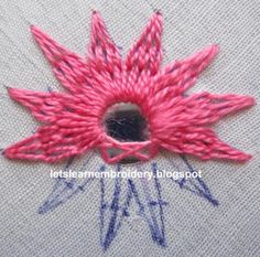 Let's learn embroidery: Mirror work 2 A step by step to create this mirrored flower