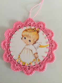 Christmas card ornament pink with angel by littlebundles3 on Etsy, $2.50