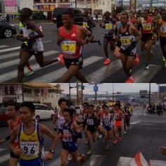 福岡国際マラソンの応援に来ました 11km付近小田部大橋手前です ペースメーカーが入っていて1km3分のハイペースです tags[福岡県]