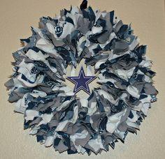 Items similar to Dallas Cowboys Fabric Wreath on Etsy Football Team Wreaths, Dallas Cowboys Wreath, Football Party Decorations, Dallas Cowboys Football, Christmas Door Decorations, Lsu, Fabric Wreath, Diy Wreath, Mesh Wreaths