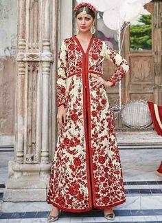 Beautiful Beige Thread Work China Crepe Long Wedding Anarkali Suit