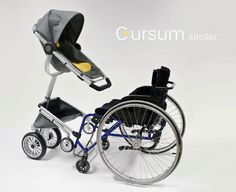 Unfortunately there aren't many products available to help wheelchair users and their babies get about. To solve this dilemma, Swedish industrial design student Cindy Sjöblom created the Cursum. A baby stroller specifically designed to attach and work wi Wheelchair Accessories, Adaptive Equipment, Mobility Aids, Spinal Cord Injury, Assistive Technology, Prams, Special Needs, Disability, Baby Strollers