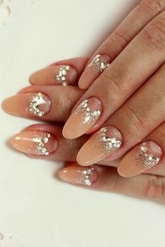 Half moon manicure with glitz and glam for Vegas!