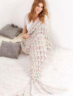 Manta de sirena con diseño de cola de pez de textura - multicolor