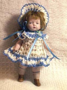 "Hand Crochet Dress Set for Doll House 4-5"" Miniature Antique Bisque Doll OOAK"