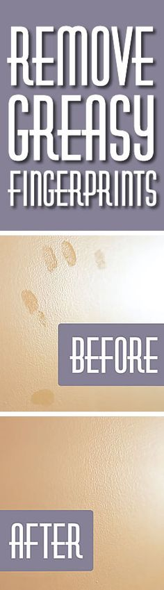 Spa Kamper note:  we always have oil on the walls- especially near the light switch   Remove oily fingerprints from painted surfaces--spray with a mixture of half water-half peroxide wipe off with soft cloth; or try using white chalk.  This trick works like magic - so glad I figured this out!