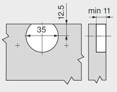 Detalii gaurire cupa 45mm balama 79T8500 de 60 grade Floor Plans, Floor Plan Drawing, House Floor Plans