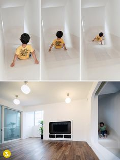 This three-story slide by Tokyo-based LEVEL Architects wraps around the entire interior of the home!       credit: LEVEL Architects [http://www.level-architects.com/works/house/nakameguro/nakameguro01.html]