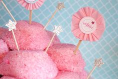 Pink Princess Party Idea: Sno Balls topped with sparkly stars and make-a-wish printables.