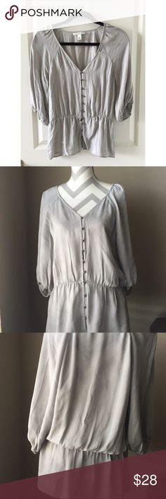 Banana Republic Grey Silk Peplum Button Blouse S Beautiful used condition. No issues. 100% Silk. please note: this is a PETITE small. Not just a small! Banana Republic Tops Blouses