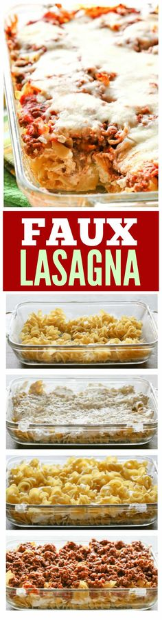 This Faux Lasagna is lasagna without all of the work. This can totally be made ahead of time and is a great casserole to freeze!