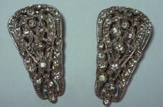 "Vintage Matching Pair Art Deco Clear Rhinestone Dress Clips 2"" | eBay"