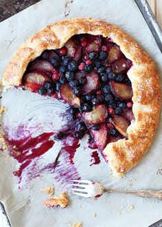 Plum Blueberry Galette - great way to use up currants, blueberries, and plums from the csa!