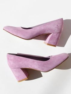 "Classic pump in smooth leather with a slightly squared toe and 2 5/8"" block heel. Slips on. Fits true to size. Made in Turkey. Color: Lavender Suede"