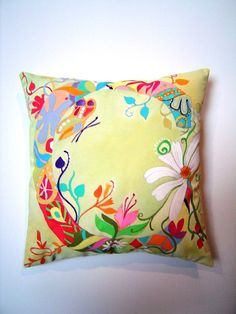 """Flower """"C"""" Initial - Hand Painted Pillow. $55.00, via Etsy."""