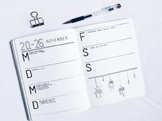 Bullet journal weekly layout, minimalist date header, simple bullet journal layouts, plant drawings. @bulletbyx