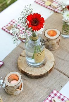 Marvelous Small Ceramic Vases Ideas Marvelous Useful Ideas: Concrete Vases Countertops ceramic vases makeover.Large Bottle Vases unique vases for wedding. Vase Arrangements, Vase Centerpieces, Vases Decor, Wooden Wedding Decorations, Deco Champetre, Wooden Vase, Vase Shapes, Wedding Table Settings, Wedding Centerpieces