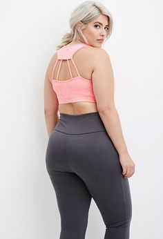 Plus Size Laddered-Cutout Sports Bra - really pretty.... Not sure it would help at all as a 'sports bra' - but nice under a slouchy tee around home or running errands.