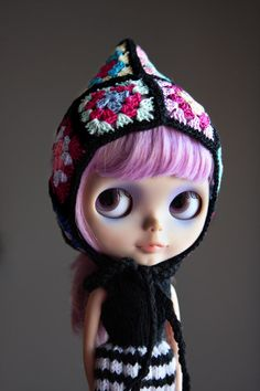 Granny Square hat for Blythe by mandylynn on Etsy, $28.00