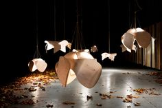 The numerous descending lighting fixtures resembles the fallen leaves which give way to a poetic crunch once in contact with another object. The installation looks as fragile as the leaves themselves. Ballon Lampe, Suspended Lighting, Autumn Leaves, Fallen Leaves, Jellyfish, Studio, Lamp Light, Light Fixtures, Art Photography