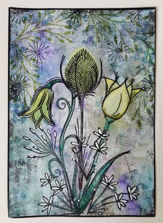 LB Flower Cards, Paper Flowers, Lavinia Stamps, Ink Drawings, Art Journal Inspiration, Flower Fashion, Art Pages, Art Journals, Mixed Media Art
